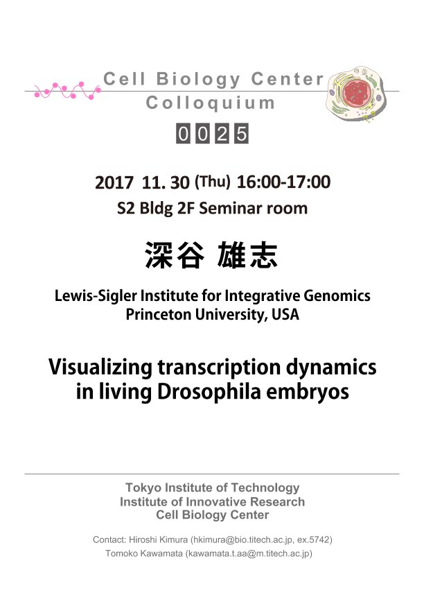 2017.11.30 Thu Cell Biology Center Colloquium 0025 深谷 雄志 博士 / Visualizing transcription dynamics in living Drosophila embryos