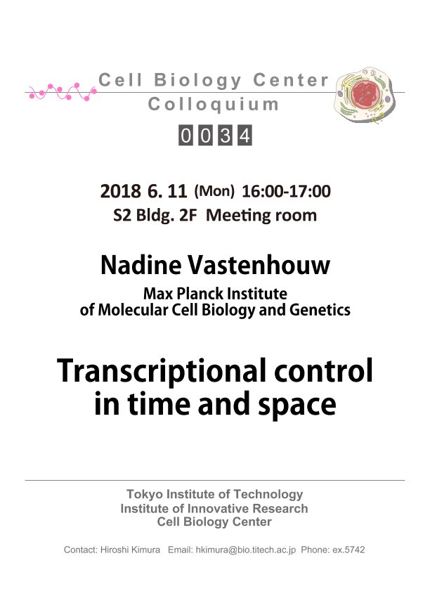 2018.06.11 Mon Cell Biology Center Colloquium 0034 Dr. Nadine Vastenhouw / Transcriptional control in time and space
