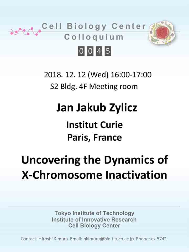 2018.12.12 Wed Cell Biology Center Colloquium 0045 Dr. Jan Jakub Zylicz / Uncovering the Dynamics of X-Chromosome Inactivation